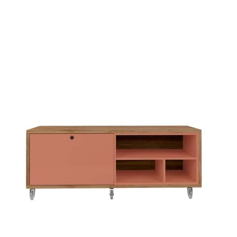 Windsor 53.62 TV Stand with Casters in Off White and Nature