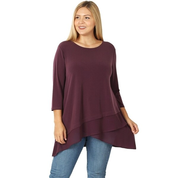 JED Women's Plus Size 3/4 Sleeve Flowy Layered Style Tunic Top. Opens flyout.