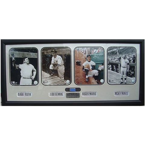 Yankee Legends Photo with Piece of Dugout Wall