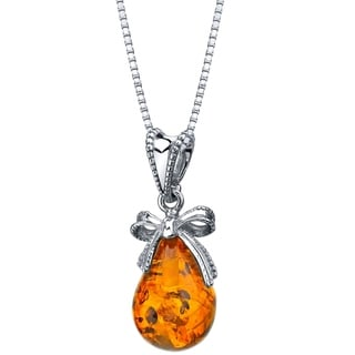 Link to Genuine Baltic Amber Bow Design Pendant Necklace in Sterling Silver Similar Items in Necklaces