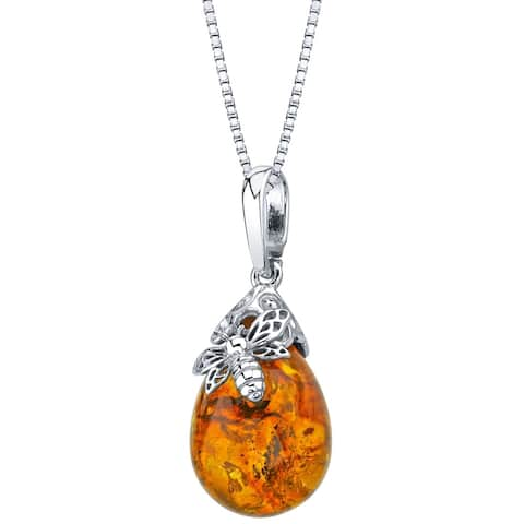 Genuine Baltic Amber Bee Design Pendant Necklace in Sterling Silver