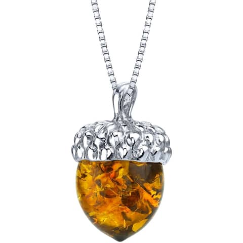 Genuine Baltic Amber Acorn Design Pendant Necklace in Sterling Silver