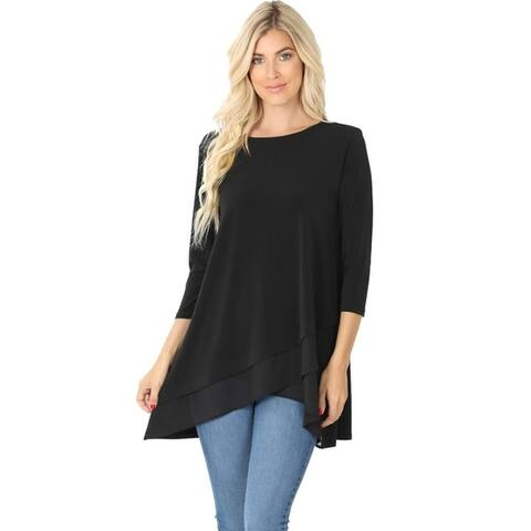 JED Women's 3/4 Sleeve Flowy Layer Effect Tunic Top