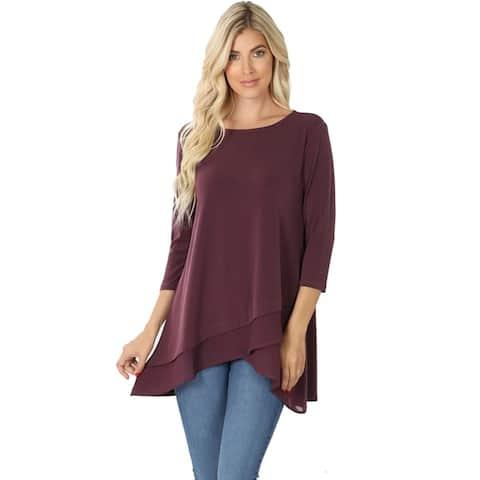 JED Women's 3/4 Sleeve Flowy Layer Effect Tunic Top