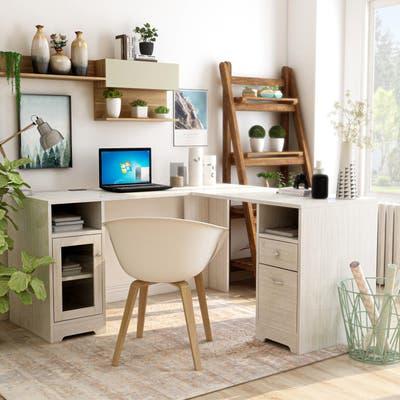 Furniture of America Barlon Modern 59-inch L-Shape Desk with Locking Drawer