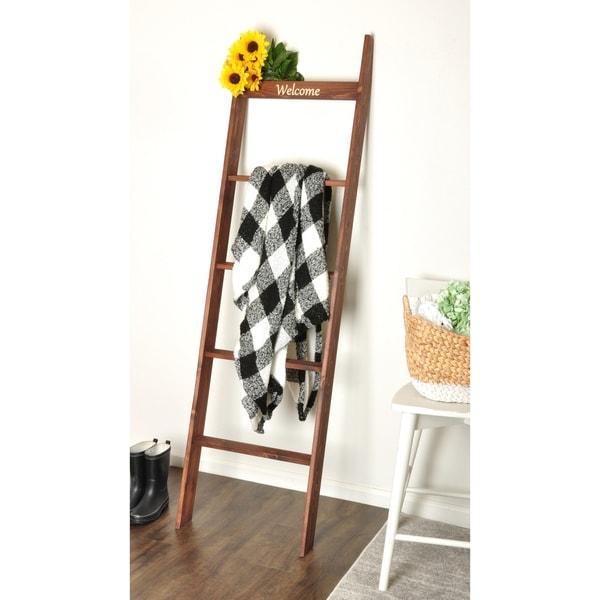 "Custom 'Welcome' 72"" Decorative Blanket Ladder"
