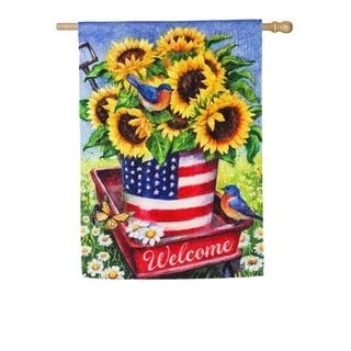"28"" x 44"" Patriotic Sunflower Wagon Textured Suede House Flag"