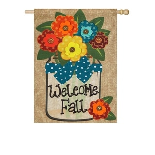 "28"" x 44"" Welcome Fall Burlap House Flag"