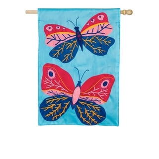 "28"" x 44"" Beautiful Butterflies Applique House Flag"