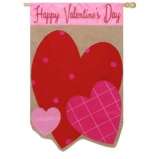 "28"" x 44"" Valentine Hearts Burlap House Flag"