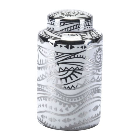 Palma Small Jar White & Silver
