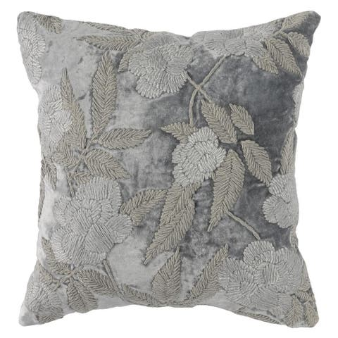 Kosas Home Joie Elise Embroidered 18-inch Throw Pillow