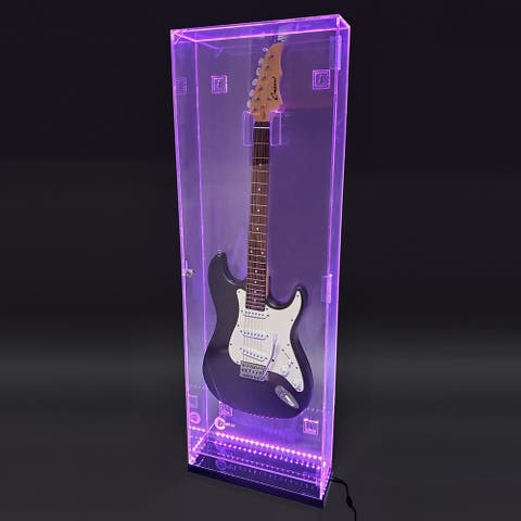 Deluxe Acrylic Wall Mounted/Tabletop UV-Protected Electric Guitar Display Case w/Lights