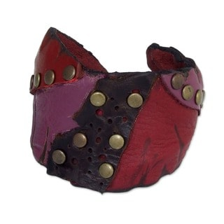 Red Fuschia Black Unique Patchwork with Antiqued Brass Studs Bohemian Hippie Handmade Womens Leather Cuff Bracelet (Thailand)