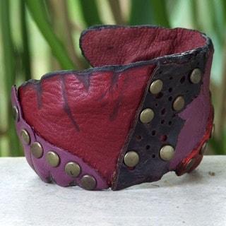 Red Fuschia Black Unique Patchwork with Antiqued Brass Studs Bohemian Hippie Handmade Womens Leather Cuff Bracelet (Thailand)