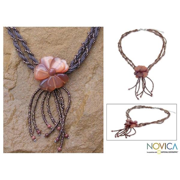 'Brown Rain forest Flower' Choker Necklace (Thailand)