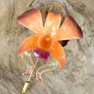 Handmade 'Sunset Beauty' Natural Orchid Goldplated Stickpin (Thailand)