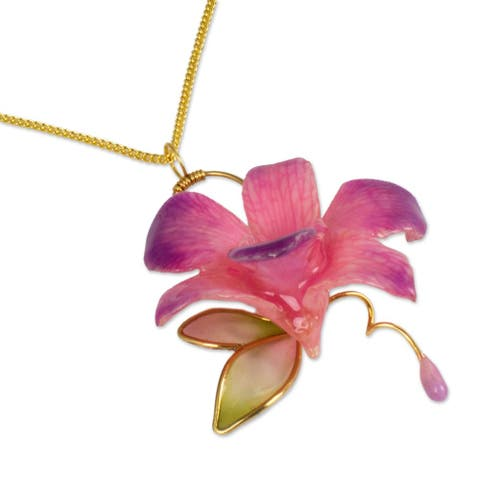 Handmade 'Charming' Natural Orchid Gold-plated Necklace (Thailand)
