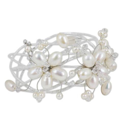 Garland Flowers of White Freshwater Pearls and Crystal Beads Perfect Bridal Adjustable Womens Fashion Cuff Bracelet (Thailand