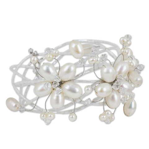 Handmade Garland Flowers of White Freshwater Pearls and Crystal Beads Perfect Bridal Adjustable Fashion Cuff Bracelet (Thailand)