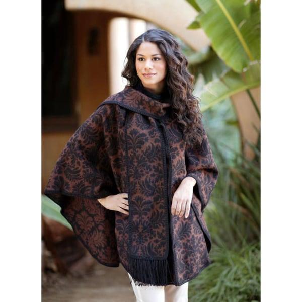 Secret Garden Elegant Handmade Women's Warm Reversible Leaf Motif Scarf Black Brown Warm Cape Alpaca Wool Ruana Cloak (Peru)