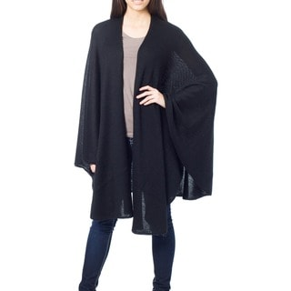 Bold Black Cape Like Light Soft Warm Acrylic Wool Alpaca Blend Elegant Hand Crocheted Edge Day to Night Womens Wrap (Peru)
