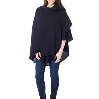 Bold Black Cape Like Light Soft Warm Acrylic Wool Alpaca Blend Elegant Hand Crocheted Edge Day to Night Womens Wrap (Peru)