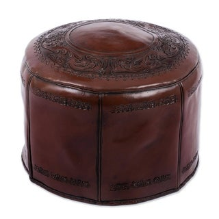 'Spanish Elegance' Tooled Leather Ottoman (Peru)
