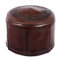 Handmade 'Spanish Elegance' Tooled Leather Ottoman Pouf (Peru)