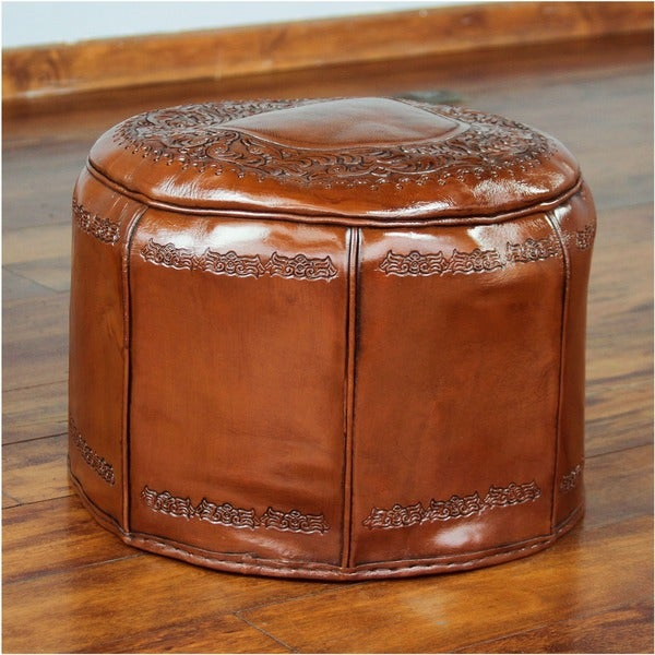 Handmade 'Spanish Elegance' Tooled Leather Ottoman Pouf (Peru)