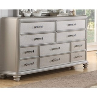 Varied Size 10 drawers Wooden Dresser In Silver