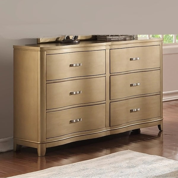 Pine Wood Spacious 6- Drawer Dresser,Gold