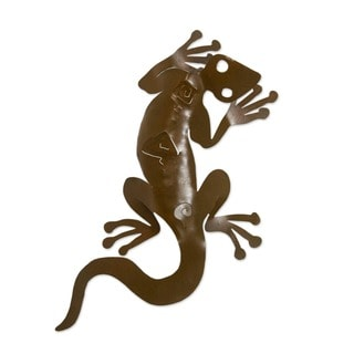 Syping Gecko Indoor Outdoor Patio Decorator Accent Rustic Brown Iron Cutout Lizard Animal Metal Wall Art Sculpture (Mexico)