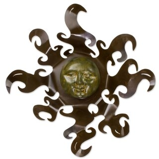 Sumptuous Sun Indoor Outdoor Patio Decorator Accent Rustic Brown Ceramic Sun with Iron Rays Metal Wa