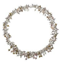 Dance in the Aztec Sun Multicolor Pearls and Silver Beads on a 925 Sterling Silver Contemporary Womens Link Choker (Mexico)