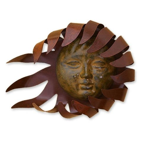 Handmade Solar Wind Rustic Weathered Sun with Rays Wall Art (Mexico)