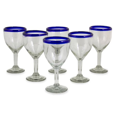 Blue Cancun Handmade Wine Goblets Set of 6