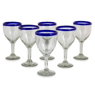 Set of 6 Blue Cancun Handmade Wine Goblets (Mexico)