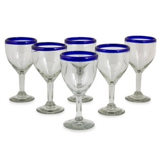 Handmade Set of 6 Blue Cancun Wine Goblets (Mexico)