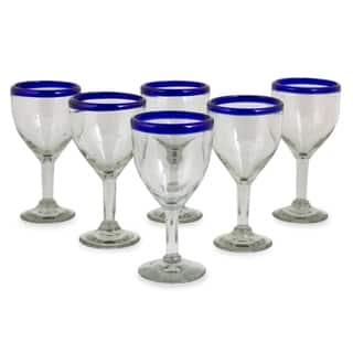 Handmade Blue Cancun Handmade Wine Goblets Set of 6 (Mexico)
