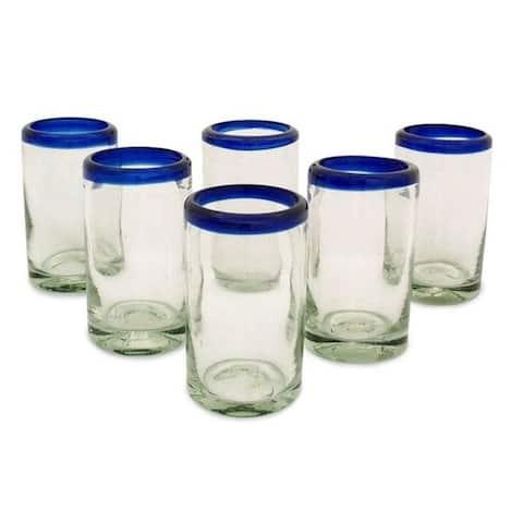 Handmade Artisan Crafted Cobalt Drinking Glasses Set 6 (Mexico)