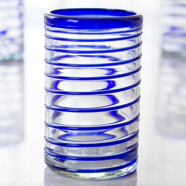 Cobalt Spiral Clear with Blue Coil Set of Six Barware or Everyday Tableware Hostess Gift Handblown Drinking Glasses (Mexico)