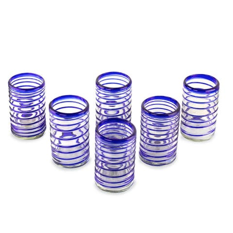 Blown glass drinking glasses Spirals of Thought set of 6 - N/A
