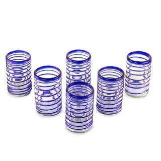 cobalt spiral clear with blue coil set of six barware or everyday tableware hostess gift handblown