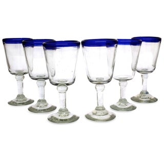 Chardonnay Clear Cobalt Blue Rim Set of Six Barware or Tableware Perfect Hostess Gift Stemmed Handblown Wine Glasses (Mexico)