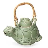 Handmade Turtle Mom Artisan Kitchen Cooking Home Decor Rustic Green Ceramic Natural Rattan Whimsical Gift Teapot (Indonesia)