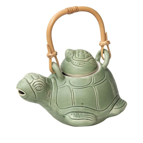 Handmade Turtle Mom Kitchen Cooking Home Decor Rustic Green Ceramic Natural Rattan Whimsical Gift Teapot