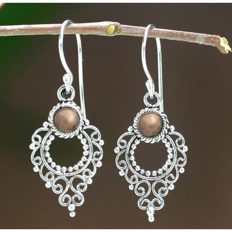 Handmade Joy Style Artisan Designer Balinese Fashion Clothing Accessory Sterling Silver Gold Plated Jewelry Earrings (Indonesia)