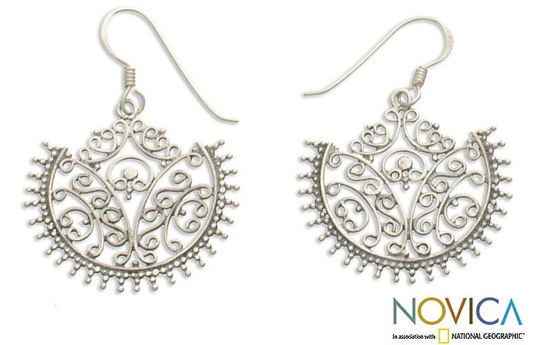 Sterling Silver 'Lace Fan' Earrings (Indonesia)