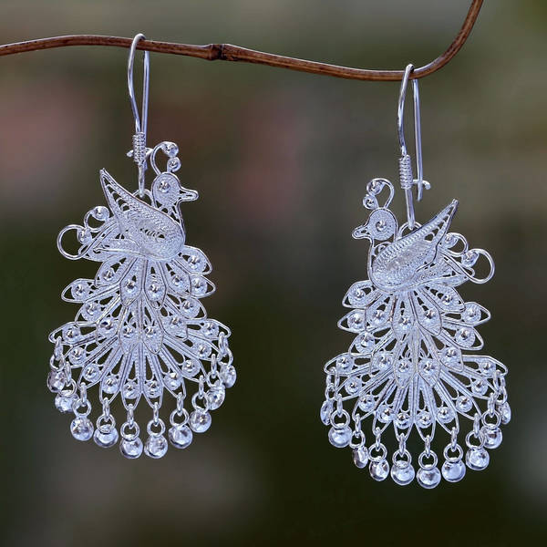 Handmade Sterling Silver 'Royal Peacock' Earrings (Indonesia)